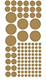 Metallic POLKA DOTS 100+ circle wall decal décor peel and stick sheet of stickers- Gold pack