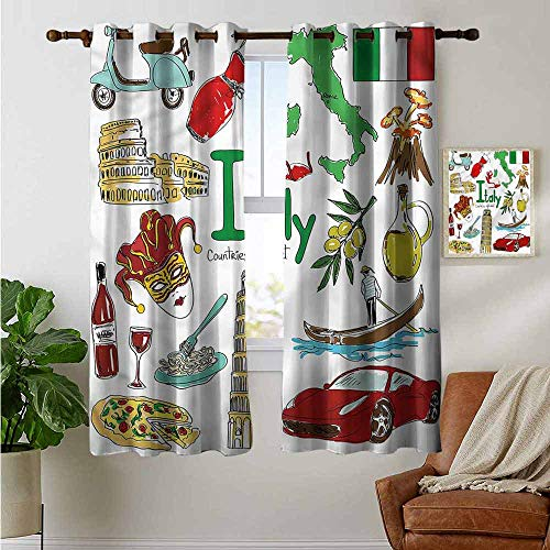 fengruiyanjing Window Curtain Panels Windows Treatment for Living Room Bedroom, Italy, Fun Colorful Sketch Style 63