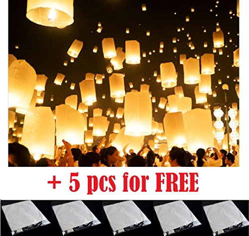 50 PCS || White flying Chinese Paper Lanterns Sky Fire Fly Candle Lamp for Wish Wedding || White color || Make a wish and release into the sky || by ★★★ Royal ♛ Shop ★★★ (Buy In Store Chinese Where Lanterns To)