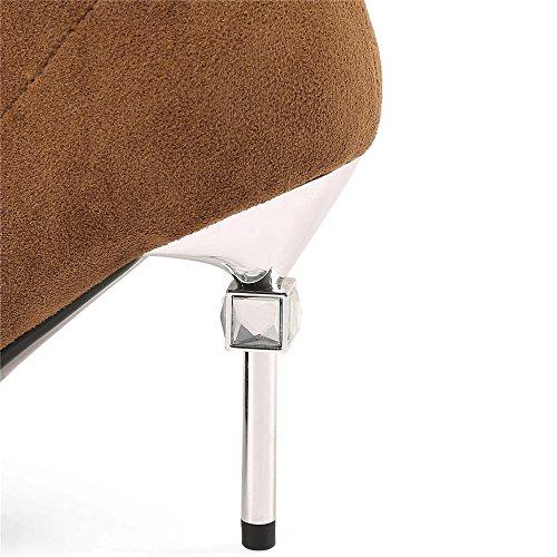 Negen Zeven Suède Lederen Dames Puntige Neus Mode Naaldhak Slip Op Handgemaakte Over De Knie Laarzen Bruin