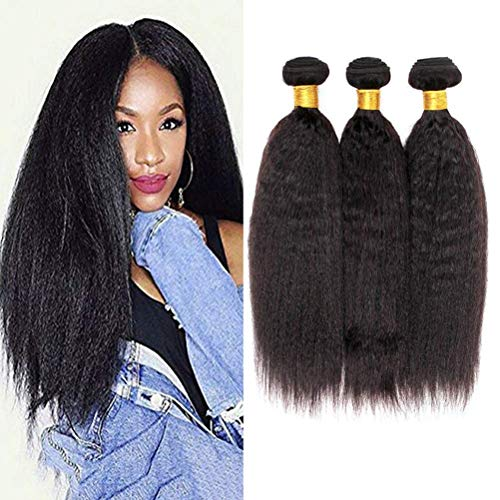 - 8A Yaki Hair Kinky Straight Brazilian Hair 3 Bundles 100% Unprocessed Virgin Sew in Human Hair Extensions Hair Weave Natural Color (14 16 18 Inch)