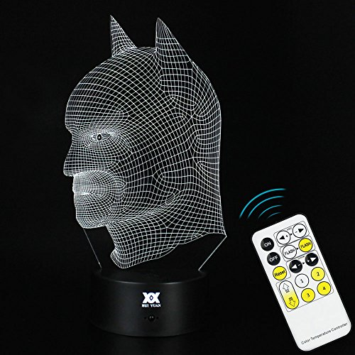 3D illusion Batman Remote contral Table Desk Night Light Lamp Home Office Childrenroom Decoration and Holiday Birthday