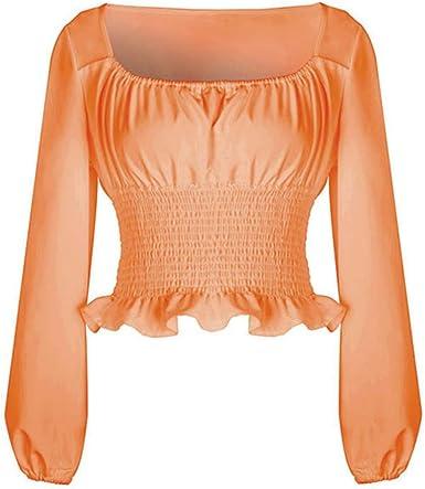 Donna Manica Lunga Camicetta Tinta Unita Collo Quadrato Shirt Moda Maniche a Sbuffo Autunno Camicetta Casuale Camicia Tops