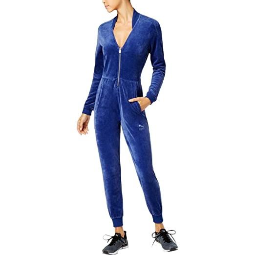 537b7d0266a Amazon.com  PUMA Women s Velour T7 Jumpsuit Blue Depths Medium  Sports    Outdoors