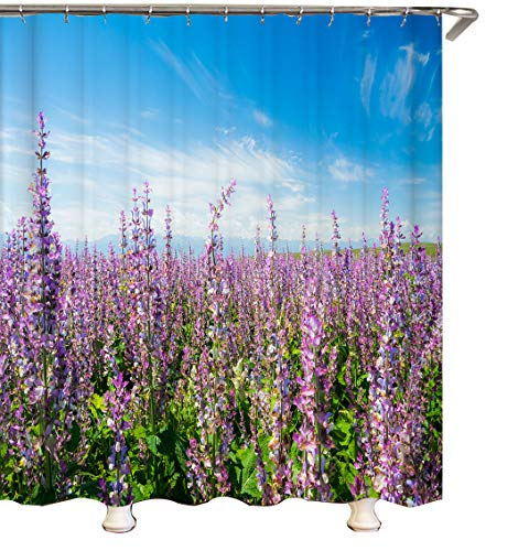 youyoutang Beautiful Lavender Field Scenery Bathroom Waterproof Fabric Shower Curtain Set 3D High-Definition Printing Does Not Fade 12 Shower Hooks 180X180CM Home Decor Bathroom Accessories