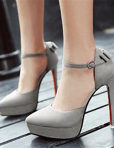 GGX Damen Schuhe Schuhe Schuhe PU Sommer Heels Heels Casual geschoben Ferse andere schwarz grau cffc8a