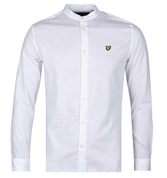 White Lyle /& Scott Men/'s Slim Fit Grandad Collar Shirt