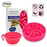 pink slow feed dog bowl - Pet Fun Feeder Dog Bowl Slow Feeder, Bloat Stop Dog Food Bowl Maze Interactive Puzzle Non Skid Come with a FREE Collapsible Dog Bowl (PINK)