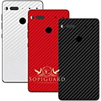 SopiGuard Essential Phone PH1 Carbon Fiber Rear Panel Precision Edge-to-Edge Coverage Easy-to-Apply Vinyl Skins (3 x Black Red White)