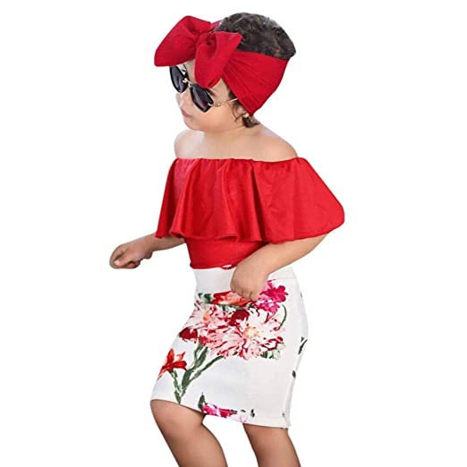 b5e4a47872ba7 Baby Toddler Girls Summer Clothes Set for 2-7 Years Old Kids Off Shoulder  Shirt Top Flower Skirt Headband Outfit