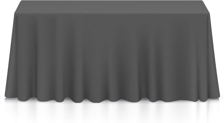 "Lann's Linens - 90"" x 132"" Premium Tablecloth for Wedding/Banquet/Restaurant - Rectangular Polyester Fabric Table Cloth - Dark Gray"