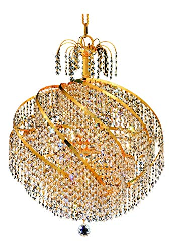 Elegant Lighting 8052D22G/Sa Swarovski Spectra Clear Crystal Spiral 10-Light, Single-Tier Crystal Chandelier, Finished in Gold with Clear Crystals
