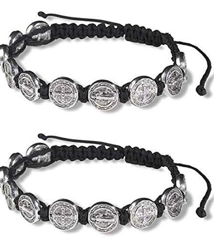 CB Silver Tone Saint Benedict Medal on Adjustable Black Cord Wrist Bracelet, 8 Inch, Pack of 2