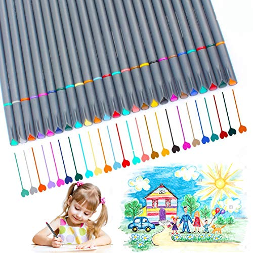 Fineliner Pens, Vonart Fineliner Color Pens 24 Art Pens for Drawing Fine Tip Colored Writing Pens Fine Line Point Marker Pens for Bullet Journal Planner Note Calendar Coloring Art Projects