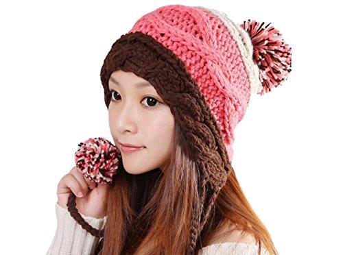 上コンピューターを使用する動的EARTH LEAD(アースリード) 全11色 ざっくり編み かわいい ニット帽 耳までポカポカ ボンボン付きで可愛さアップ