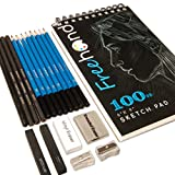 Sketch Pencils Set - Drawing, Sketching and Charcoal Pencils. Includes 100 Page Drawing Pad and Kneaded Eraser. Art Kit and Supplies for Kids, Teens and Adults.