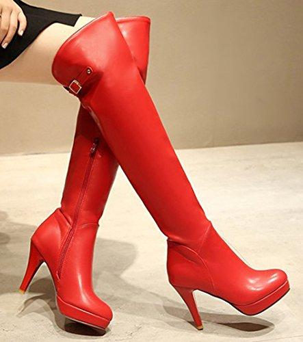 Idifu Womens Sexy Hauts Talons Stiletto Plate-forme Latérale Fermeture À Glissière Long Sur Le Genou Haute Chaussons Rouge