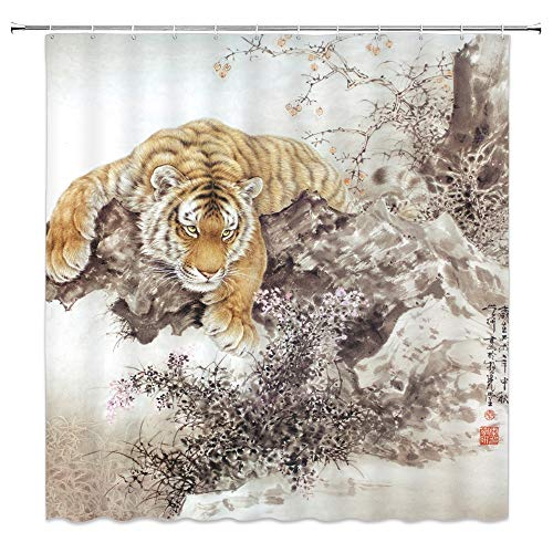 jingjiji Watercolor Tiger Shower Curtain Ink Animal Forest Landscape Chinese Style Painting Classic Asian Decor Bathroom Decoration Curtains Polyester Fabric Waterproof with Hook 70 X 70 Inch