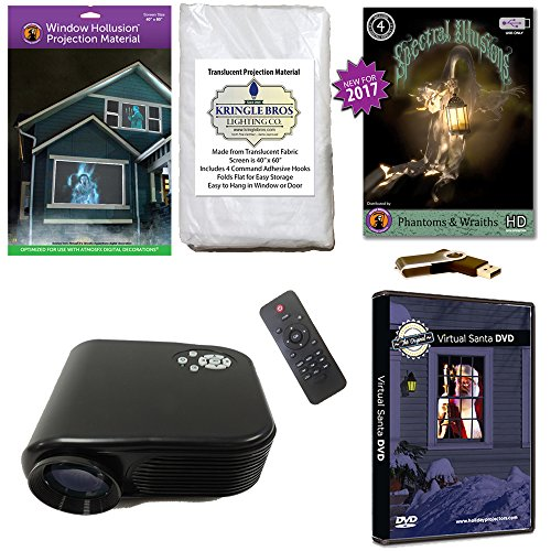 (Christmas and Halloween Digital Decoration Kit includes 800 x 480 Resolution Projector, Hollusion (W) + Reaper Bros Rear Projection Screens, Santa in Window and Phantoms & Wraiths)