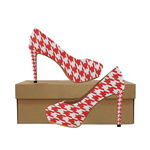 Pump Houndstooth High Heel (Honey Day House Custom Houndstooth Fashion Sexy Platform Pump High Heels for Women)
