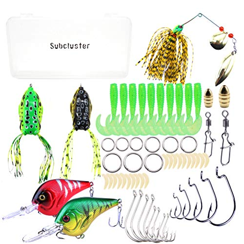 SUBCLUSTER Fishing Lures Baits Tackle Crankbaits Spinnerbaits Plastic Worms Tackle Box Fishing Gear Lures Kit Set 62 Pcs Portable Fun Fishing Baits Kit Set for Saltwater and Freshwater
