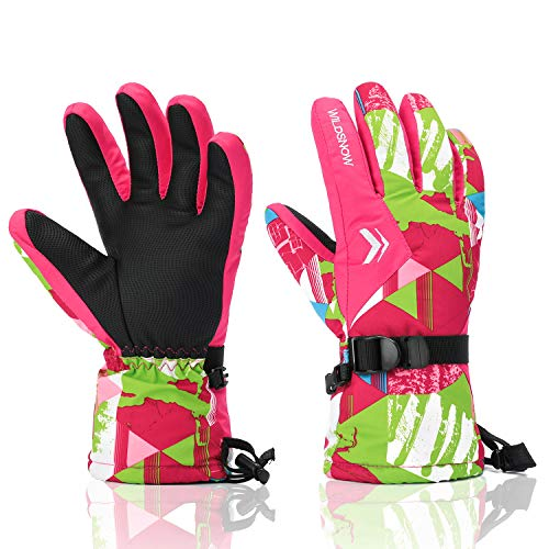 Ski Gloves, RunRRIn 100% Waterproof Winter Warm Snow Gloves for Mens, Womens, Ladies, Boys, Girls and Kids Skiing, Snowboarding(Rose -