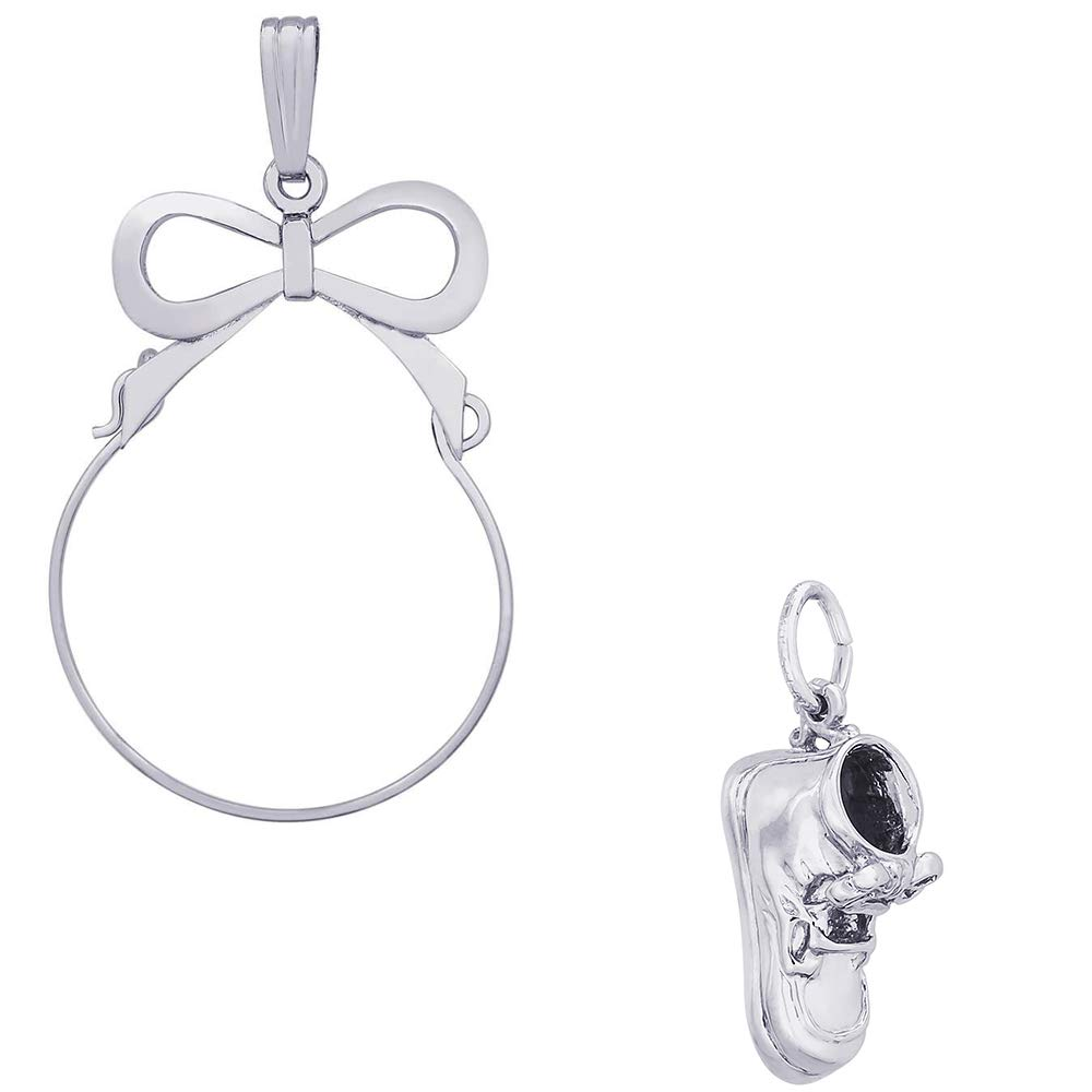 Rembrandt Charms Lace Baby Shoe Charm on a Rembrandt Charms Bow Charm Holder