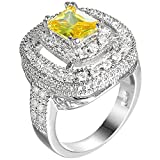 XAHH Women Platinum Plated Golden Square Cubic Zirconia CZ Crystal Hollow Ring Engagement Wedding Band 8