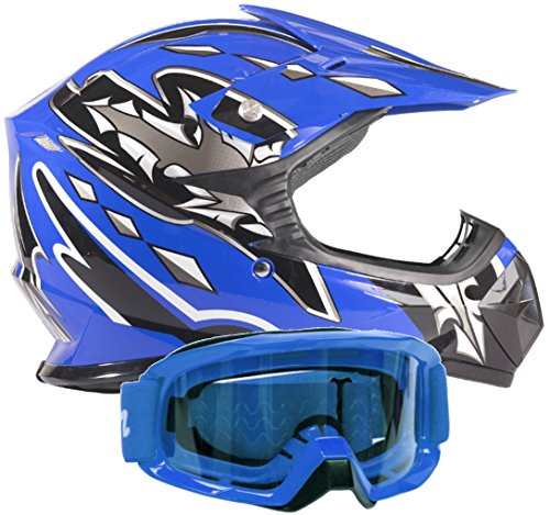 Kids Youth Offroad Gear Combo Helmet & Goggles DOT Motocross ATV Dirt...