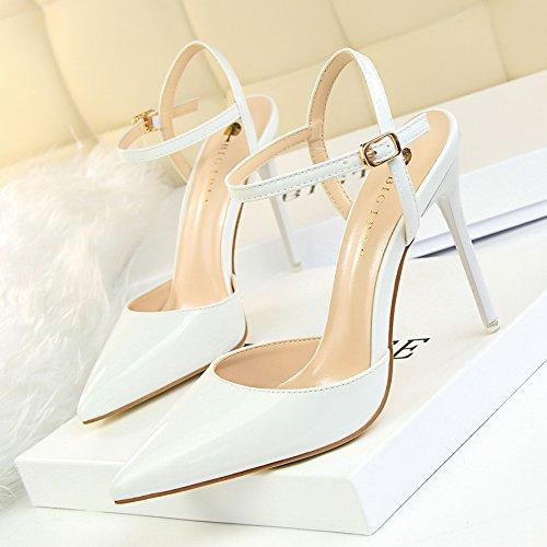 GAOLIM Sugerencia Primavera Y Verano Zapatos Zapatos De Mujer Sandalias Metálicas Con Tacones Finos Para Solo Zapatos Plata Femenina Blanco