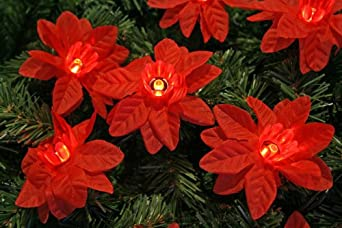 40x Poinsettia Flower lights - LED Light String - Christmas lights ...