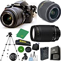 Nikon D3200 - International Version (No Warranty), 18-55mm f/3.5-5.6 DX VR, Nikon 70-300mm f/4-5.6G Nikkor, Tripod, 6pc Cleaning Set