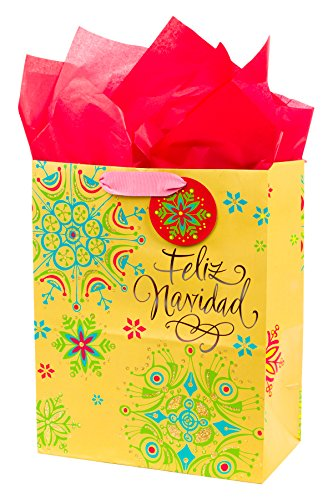 Hallmark VIDA Large Gift Bag with Tissue Paper (Feliz Navidad)