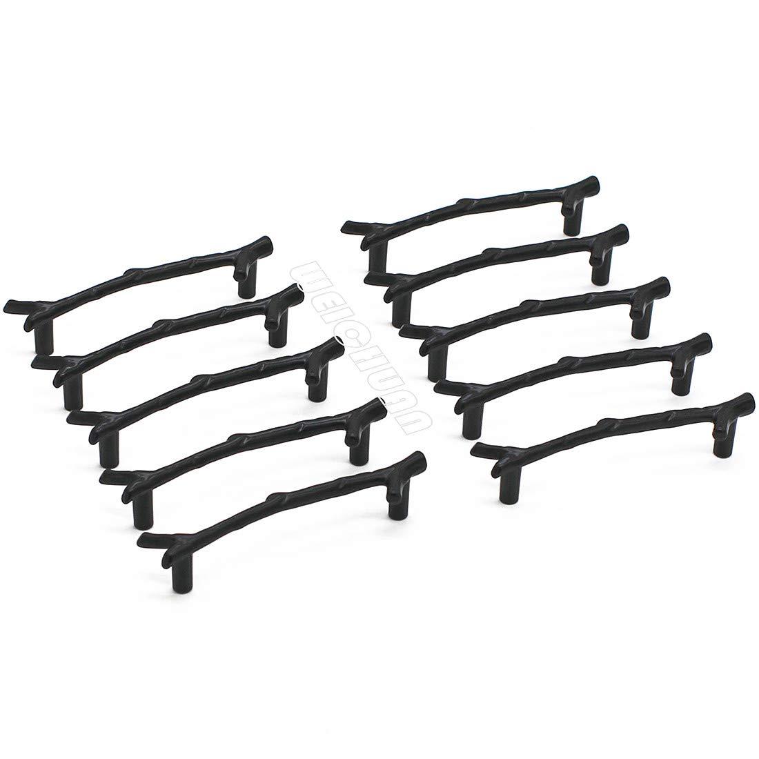 WEICHUAN 10PCS Zinc Alloy Black Twig Branch Zinc Alloy Decorative Cabinet Wardrobe Furniture Door Drawer Knobs Pulls Handles Hardware Décor (10PCS Black Pulls)