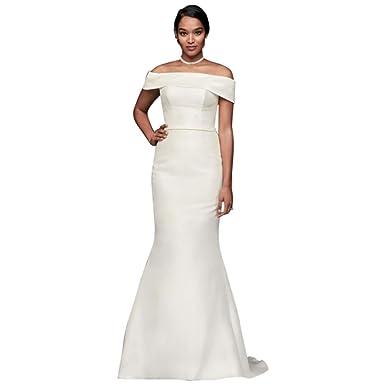 4e8f7e73 David's Bridal Off-The-Shoulder Mikado Trumpet Wedding Dress Style WG3880  at Amazon Women's Clothing store: