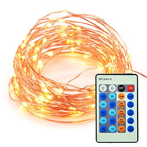AKDSteel LED String Lights 33ft 100 LED Copper Wire Waterproof Dimmable Decorative Light with Remote Control and Plug for Bedroom, Patio, Garden, Party, Christmas, Wedding(UL Listed)