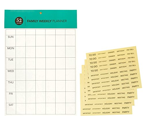 Undated Mom's Weekly Family Planner Activity Organizer Wall / Desktop Calendar Plus 200 Clear Calendar Appointment Reminder Stickers, 52 Weeks, 16.5 x 11 Inches, Teal
