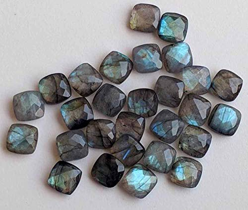 6mm Natural Labradorite Faceted Cut Cushion 25 Pieces Lot Top Quality Loose Gemstone