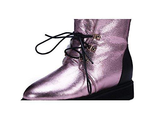 Crepa di Lace Up Casual Martin stivali in pelle Burst della donna e velluto Stivali da neve spessa capovolgere cotone Bootie scarpe , pink , 37