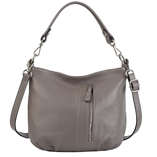 YALUXE Women's Front Pocket Soft Cowhide Leather Small Mini Purse Hobo Style Shoulder Bag Grey by YALUXE
