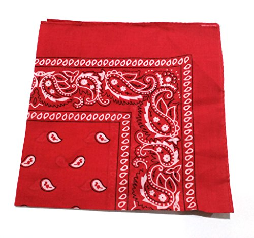 ComboCube 12 Pack(one dozen) Multi-Purpose novelty Red Cotton Paisley Cowboy Bandanas Headband for Men,Women and kids