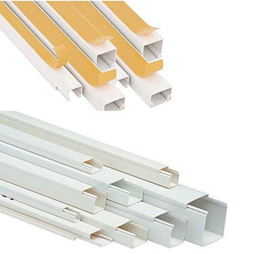 20m PVC Kabelkanal Kabelführung Elektroinstallationskanal Kabelleiste Weiß zum Schrauben 10x15mm