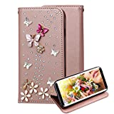 For Samsung Galaxy S8 Case + Free Screen Protector,Aearl Diamond Bling Jewellery Crystal Rhinestone Flip PU Leather Wallet Stand Cover with Card Holder for Samsung Galaxy S8 -Rose Gold Red Butterfly