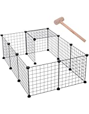 PawHut D06-055 DIY Pet Playpen Metal Wire Fence 12 Panel Enclosure Indoor Outdoor Guinea Pig Rabbit Small Animals Cage, Black, 1 Count (Pack of 1)