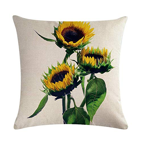 GTQC Yellow Sunflower Flower Series Linen Hug Pillowcase Cushion Cover 14 4545cm
