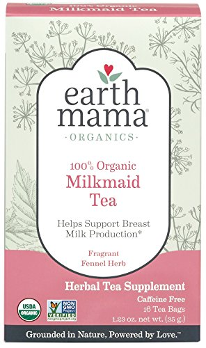 Organic Milkmaid Tea by Earth Mama | Supports Healthy Breastmilk Production and Lactation, Herbal Breastfeeding Tea Supplement,16 Teabags per Box