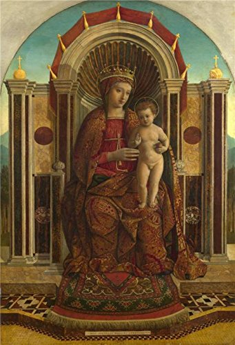 'Gentile Bellini - The Virgin And Child Enthroned,about 1475-85' Oil Painting, 30x44 Inch / 76x112 Cm ,printed On High Quality Polyster Canvas ,this Replica Art DecorativePrints On Canvas Is Perfectly -