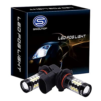 Smautop 80W LED Fog Lights Bulbs Projection, 6000k Xenon WhiteLED Daytime Running Light