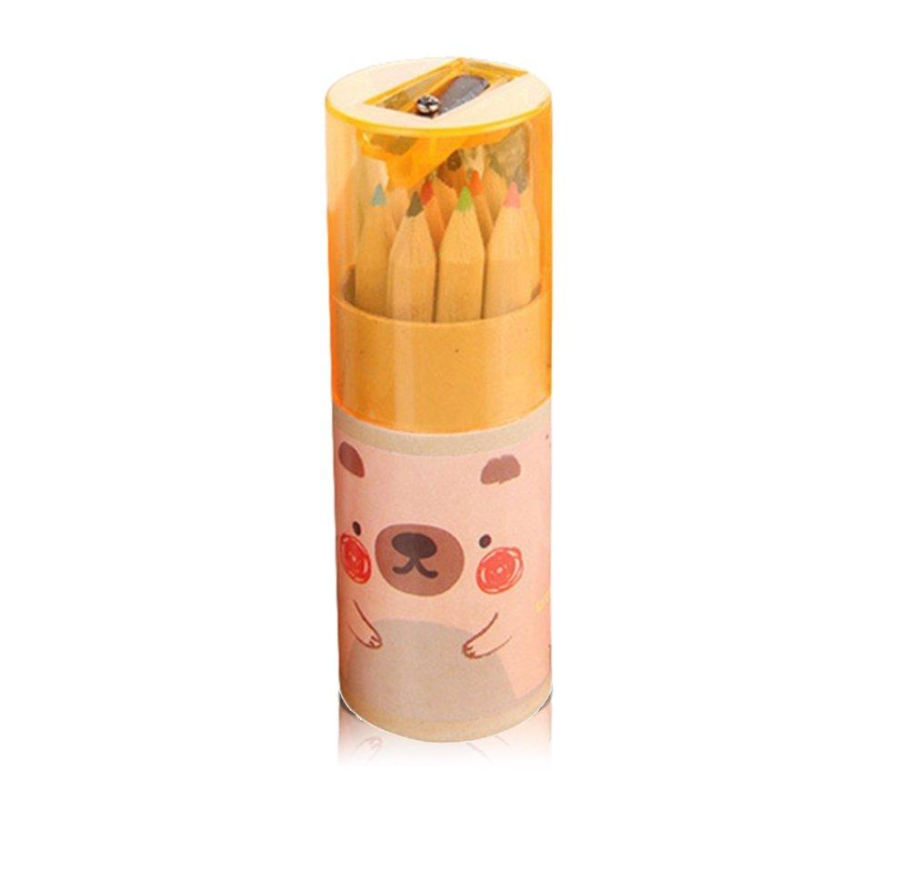 Leisial mini color legno matita Kid cute Bear matite con temperino cancelleria materiale scolastico