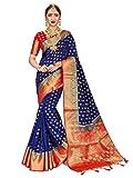 ELINA FASHION Sarees Women Banarasi Art Silk Woven Work Saree l Indian Wedding Traditional Wear Sari Blouse Piece (Navy Blue 1)